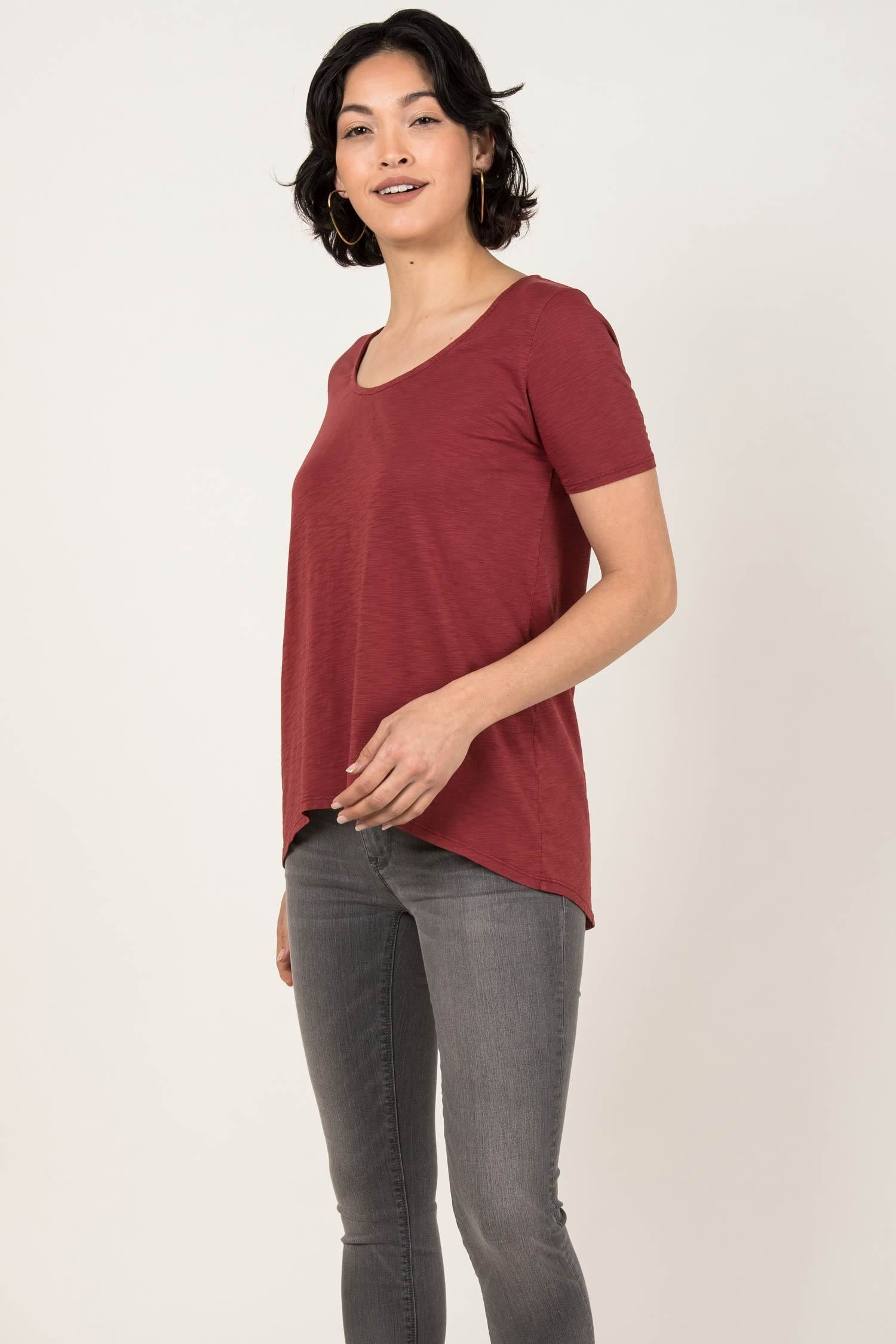 Womens Organic Cotton Tee Shirt | Essential Slub U Neck Top | Cherry Red