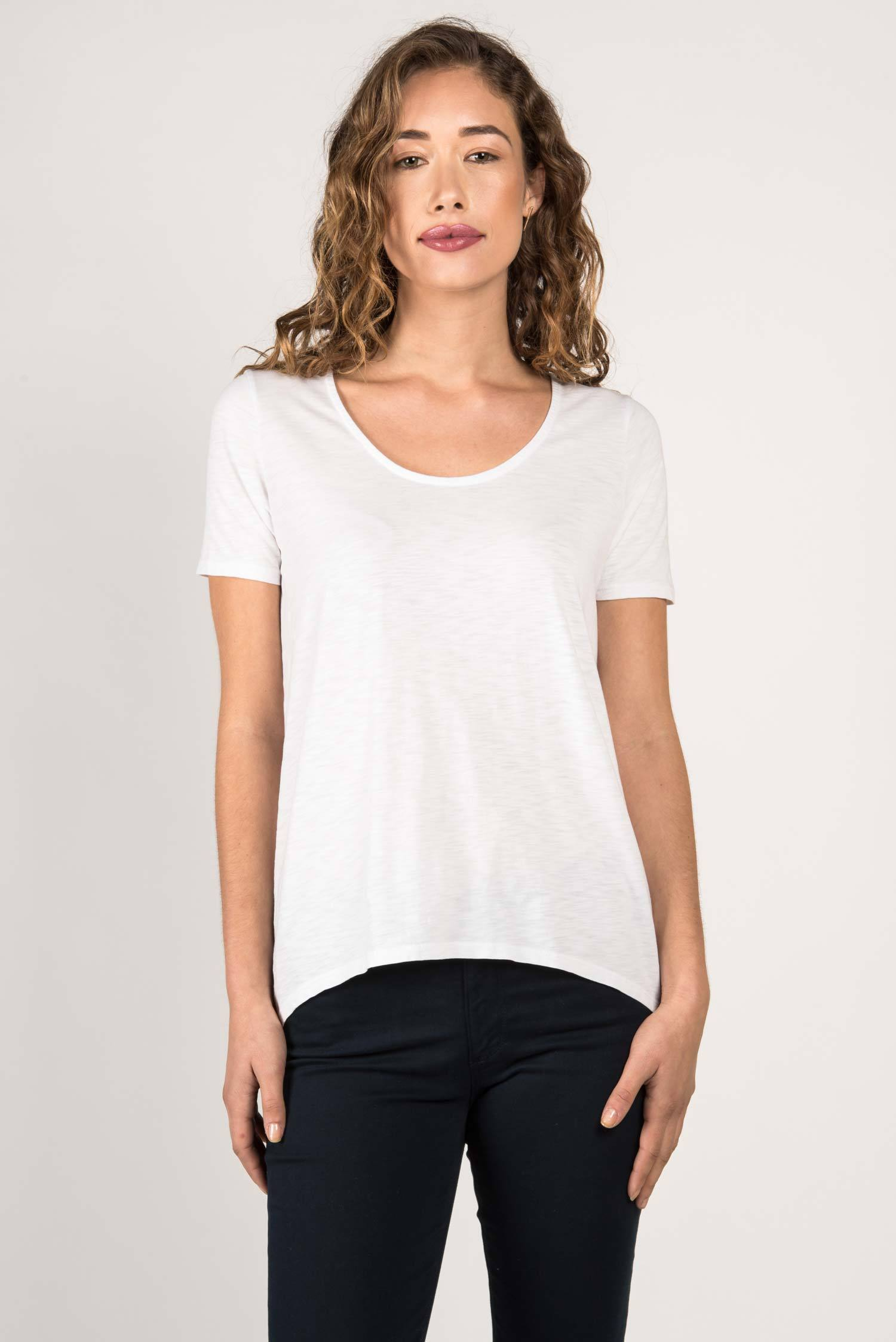 Womens Organic Cotton Tee Shirt | Essential Slub U Neck Top | White
