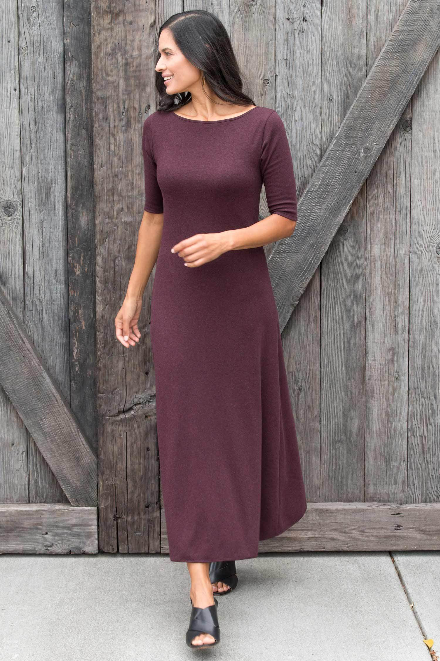 Womens Elbow Sleeve Boatneck Dress | Burgundy | Organic Cotton Clothing