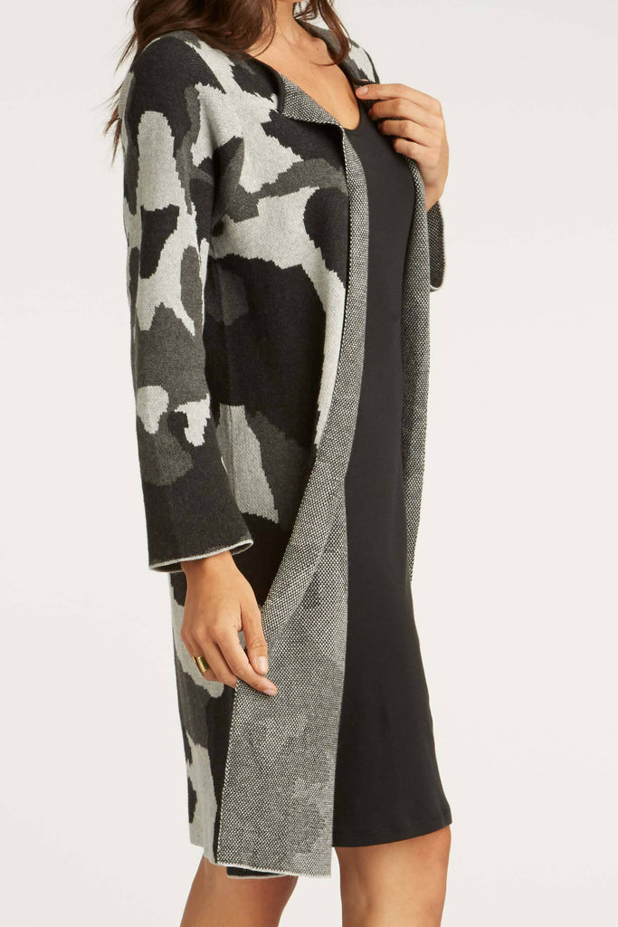 Womens Organic Cotton Sweater | Ink Blog Swing Coat Cardigan | Gray Black