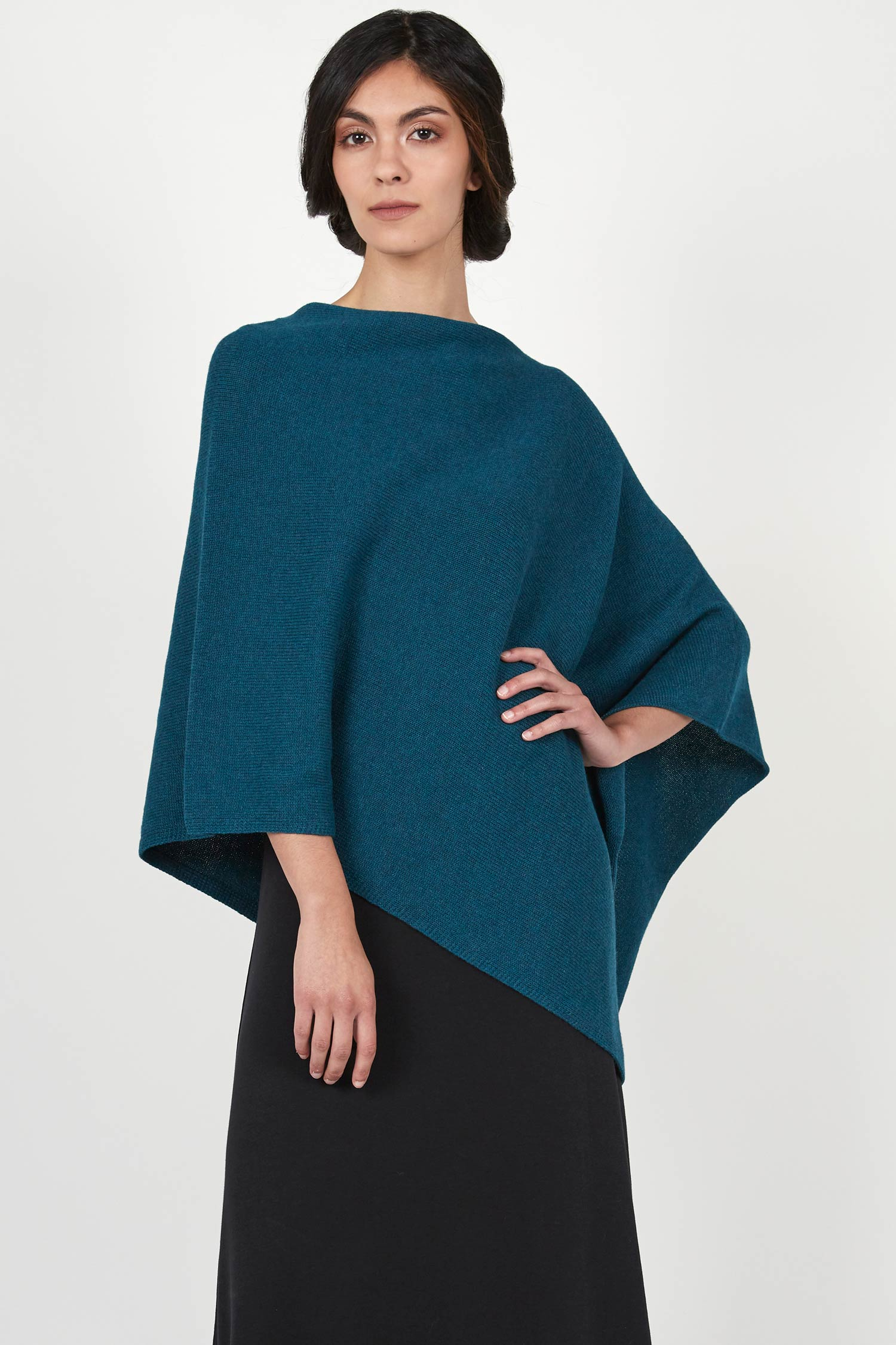 Womens Organic Cotton Ponchos | Essential Poncho - Indigenous | Jade Blue
