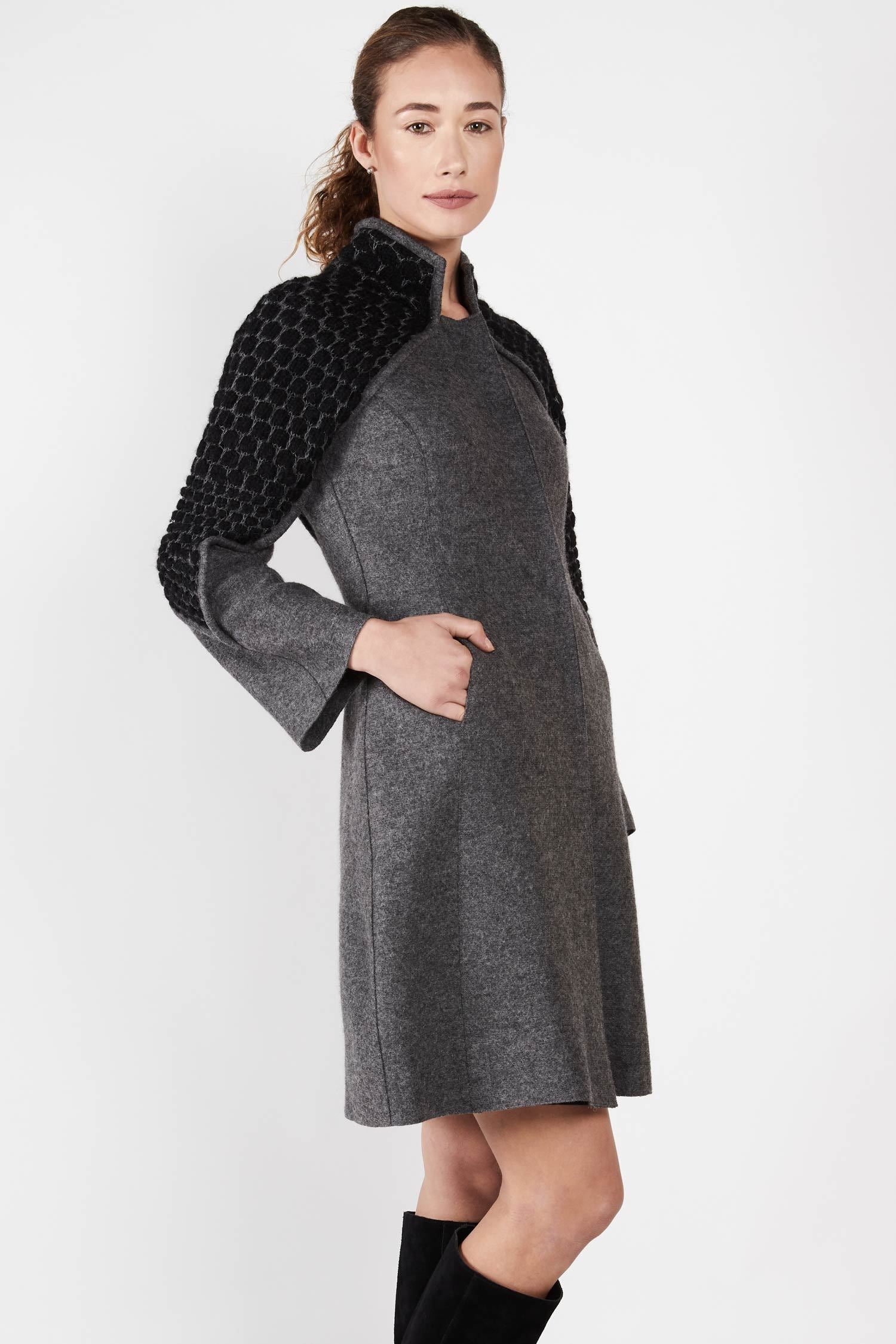 Womens Knit and Boiled Wool Alpaca Coat | Gray Black