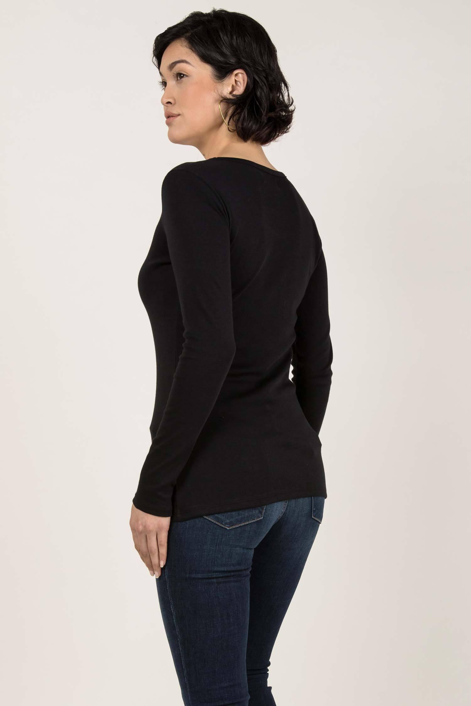 Womens Organic Cotton Top | Essential Long Sleeve Scoop Tee | Black