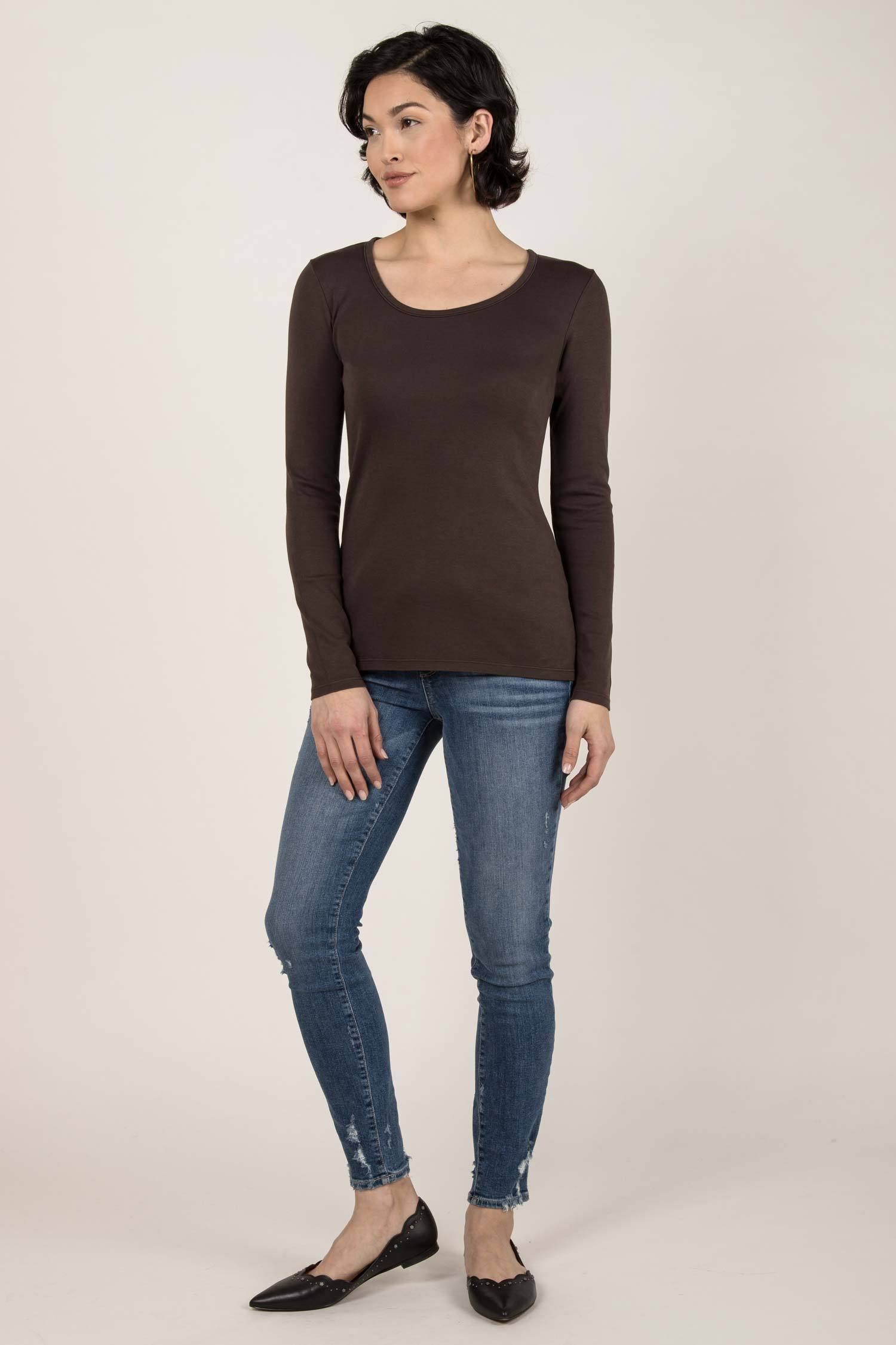 Womens Organic Cotton Top | Essential Long Sleeve Scoop Tee