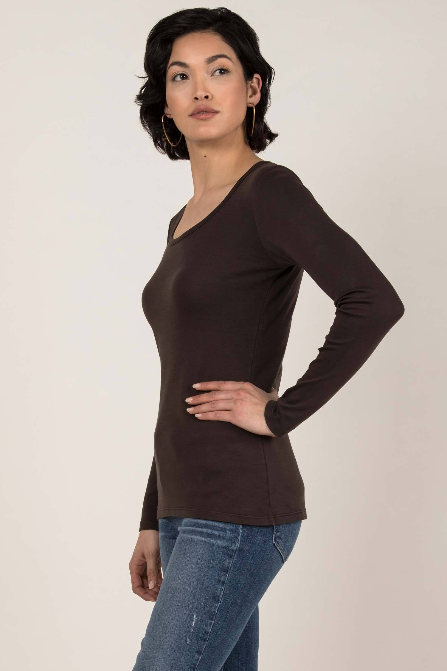 Womens Organic Cotton Top | Essential Long Sleeve Scoop Tee | Brown