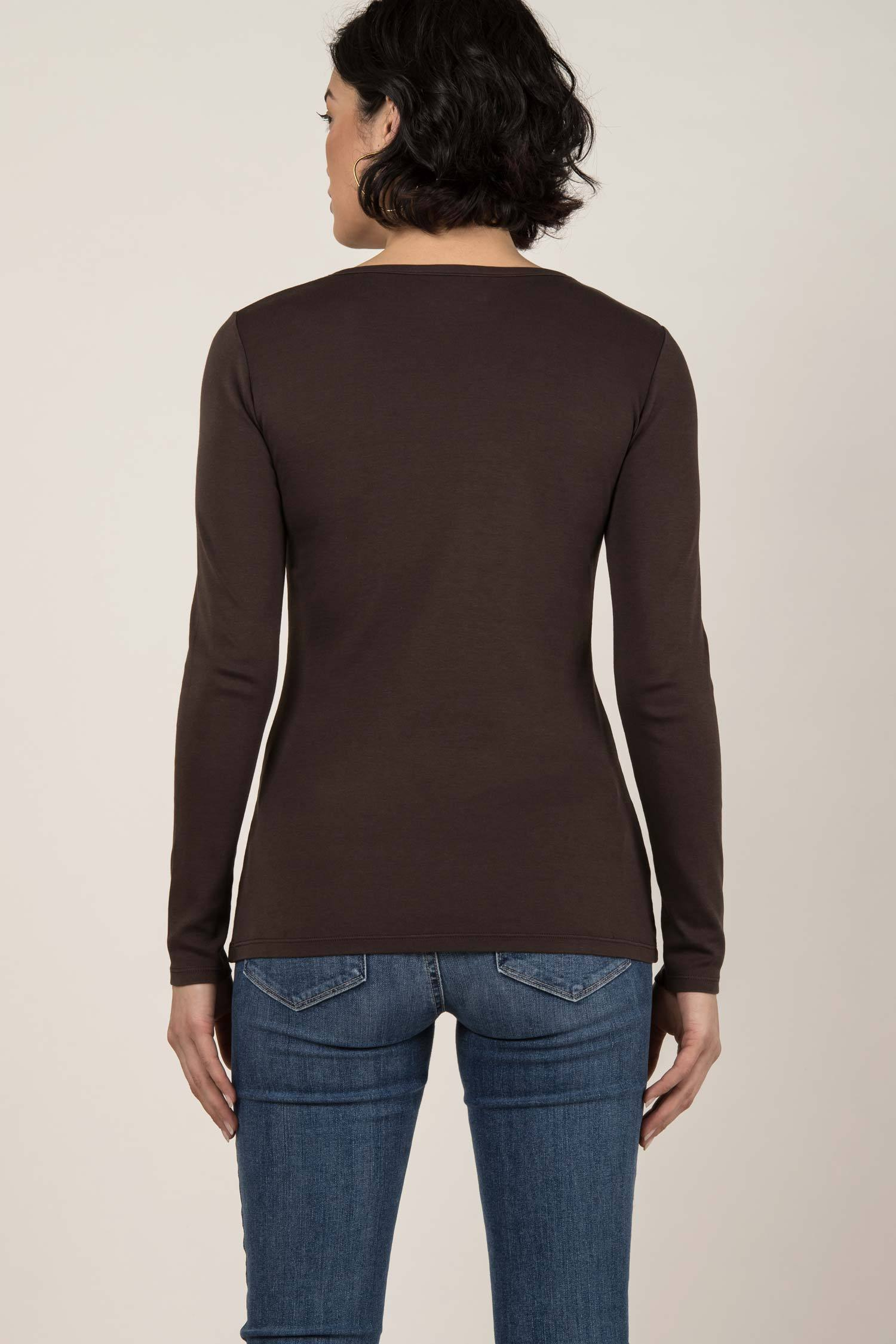 Womens Organic Cotton Top | Essential Long Sleeve Scoop Tee | Mink