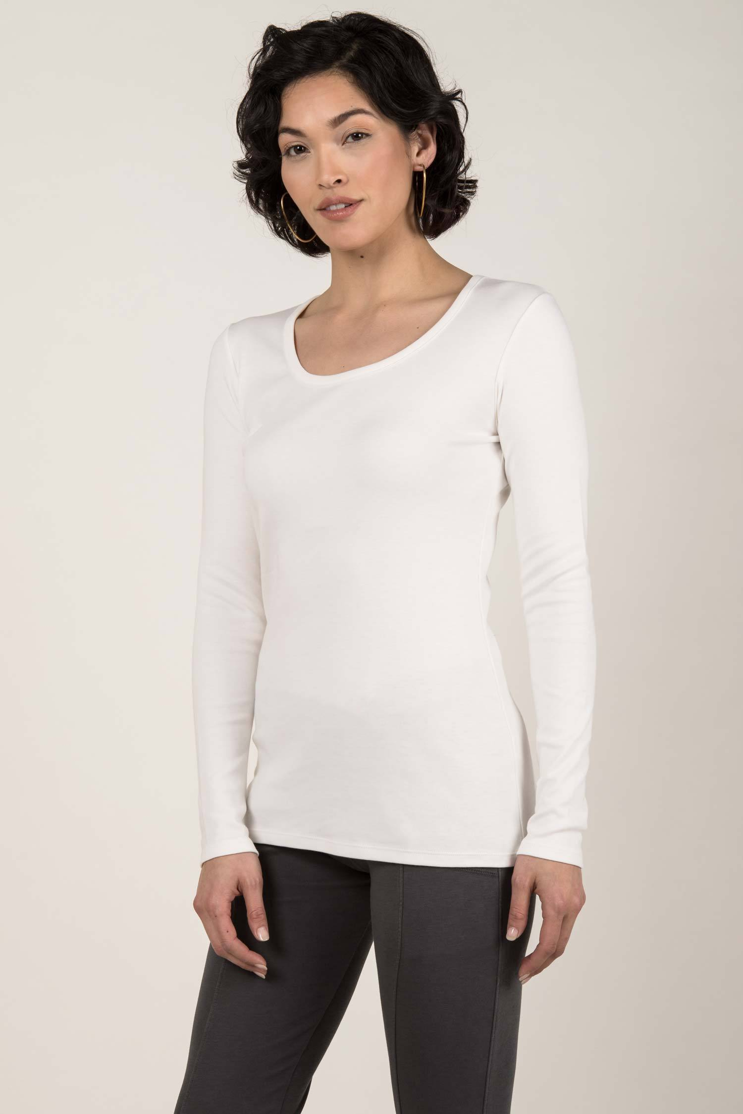 Womens Organic Cotton Top | Essential Long Sleeve Scoop Tee | Ivory