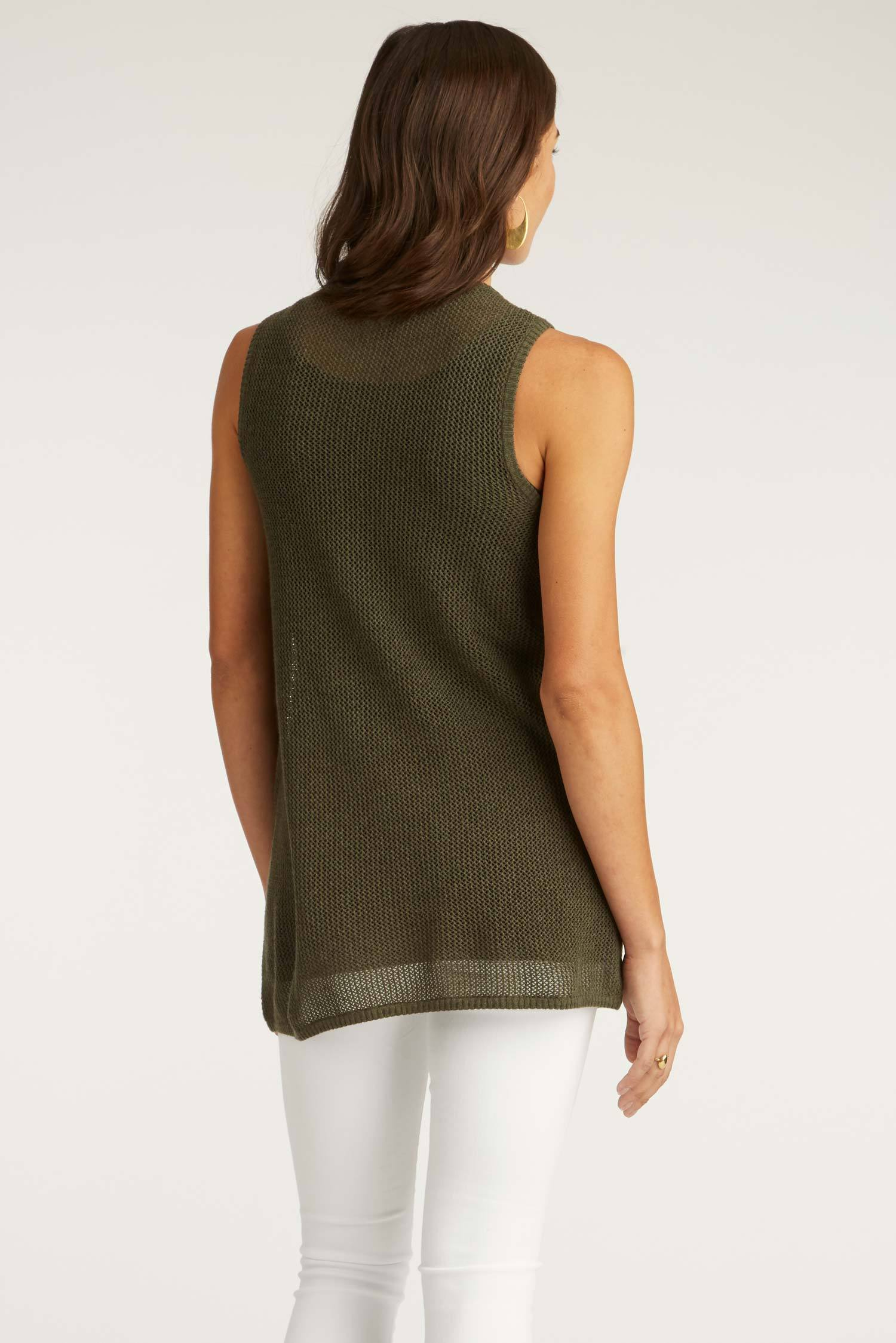 Womens Organic Cotton Top | Mesh Tank | Moss Green | Indigenous