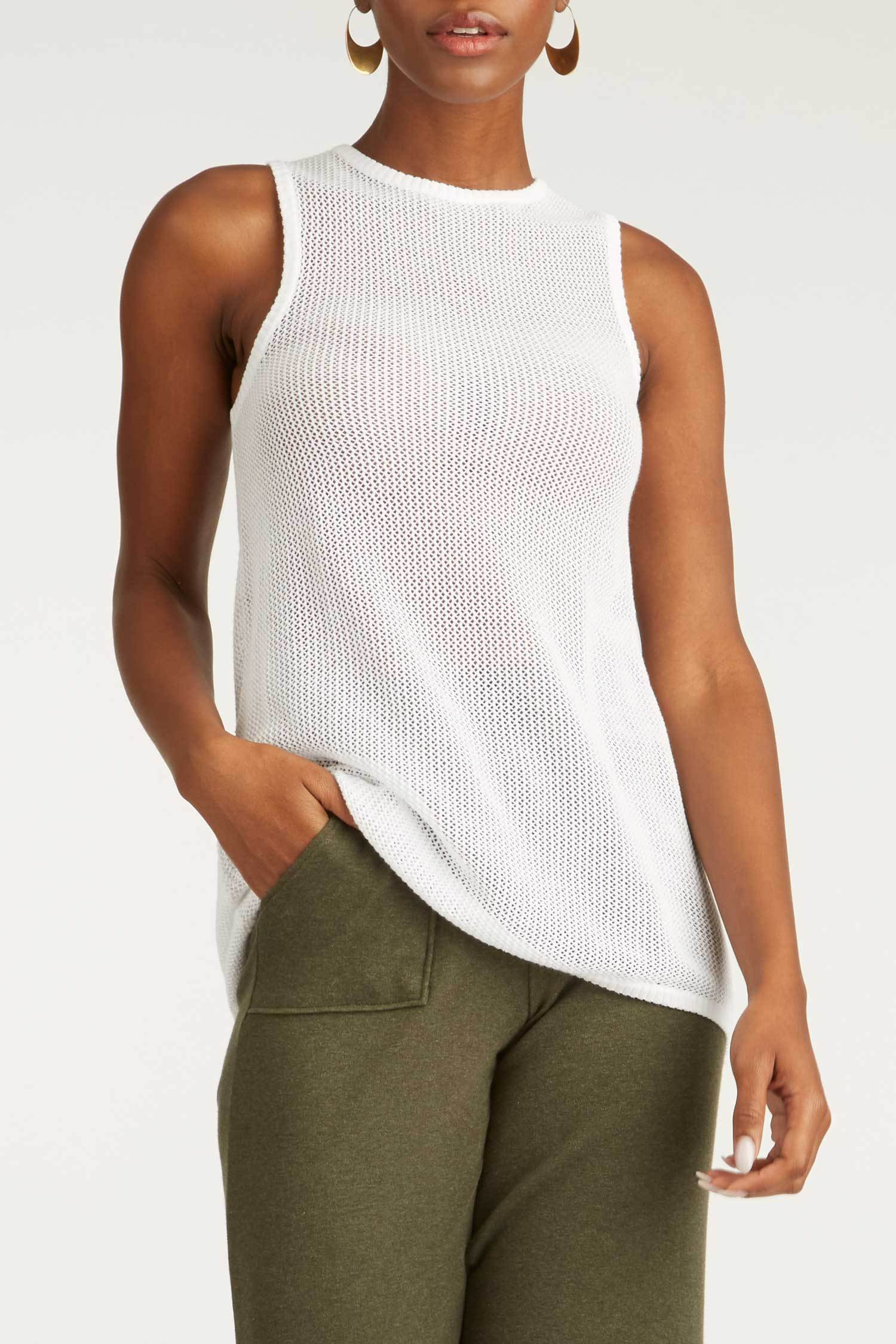 Womens Organic Cotton Top | Mesh Tank | White | Indigenous