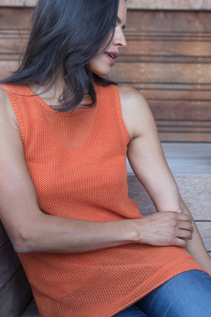 Womens Organic Cotton Top | Mesh Tank | Papaya Orange | Indigenous