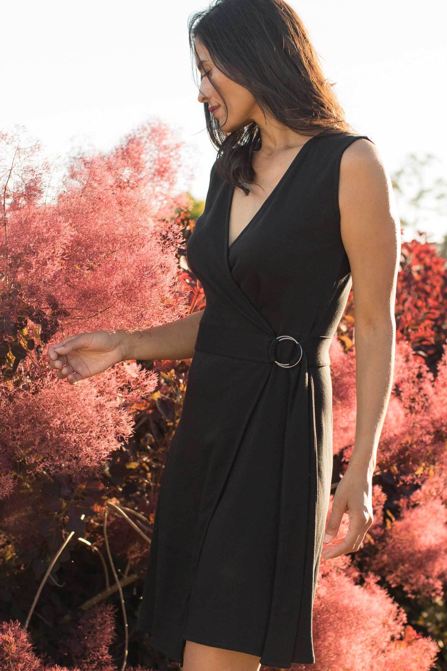 Womens Organic Cotton Dress | LBD | Black Ring Wrap Dress