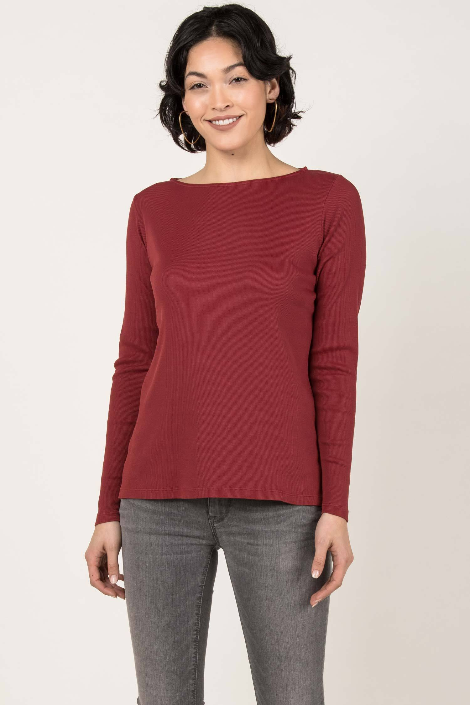 Womens Organic Cotton Top | White Long Sleeve Boatneck Tee | Cherry Red