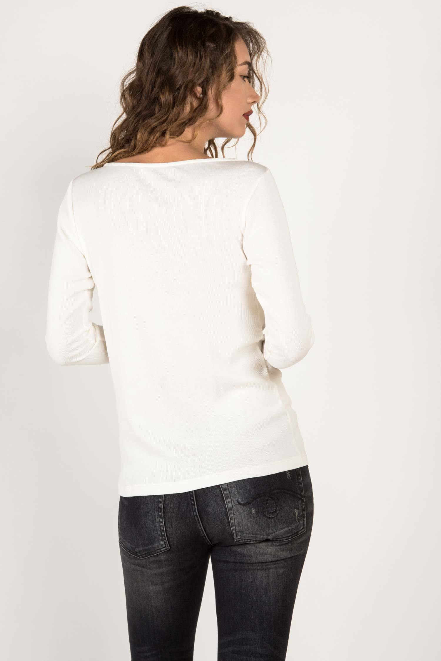 Womens Organic Cotton Top | White Long Sleeve Boatneck Tee | Indigenous