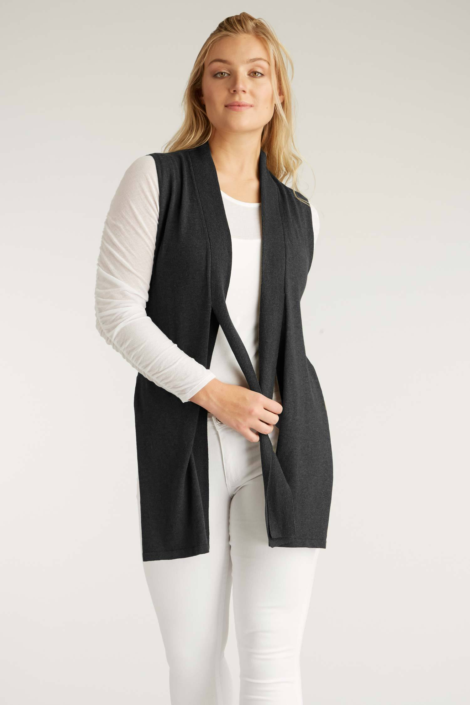 Womens Organic Cotton Vest | Black Ring Knit Vest | Indigenous