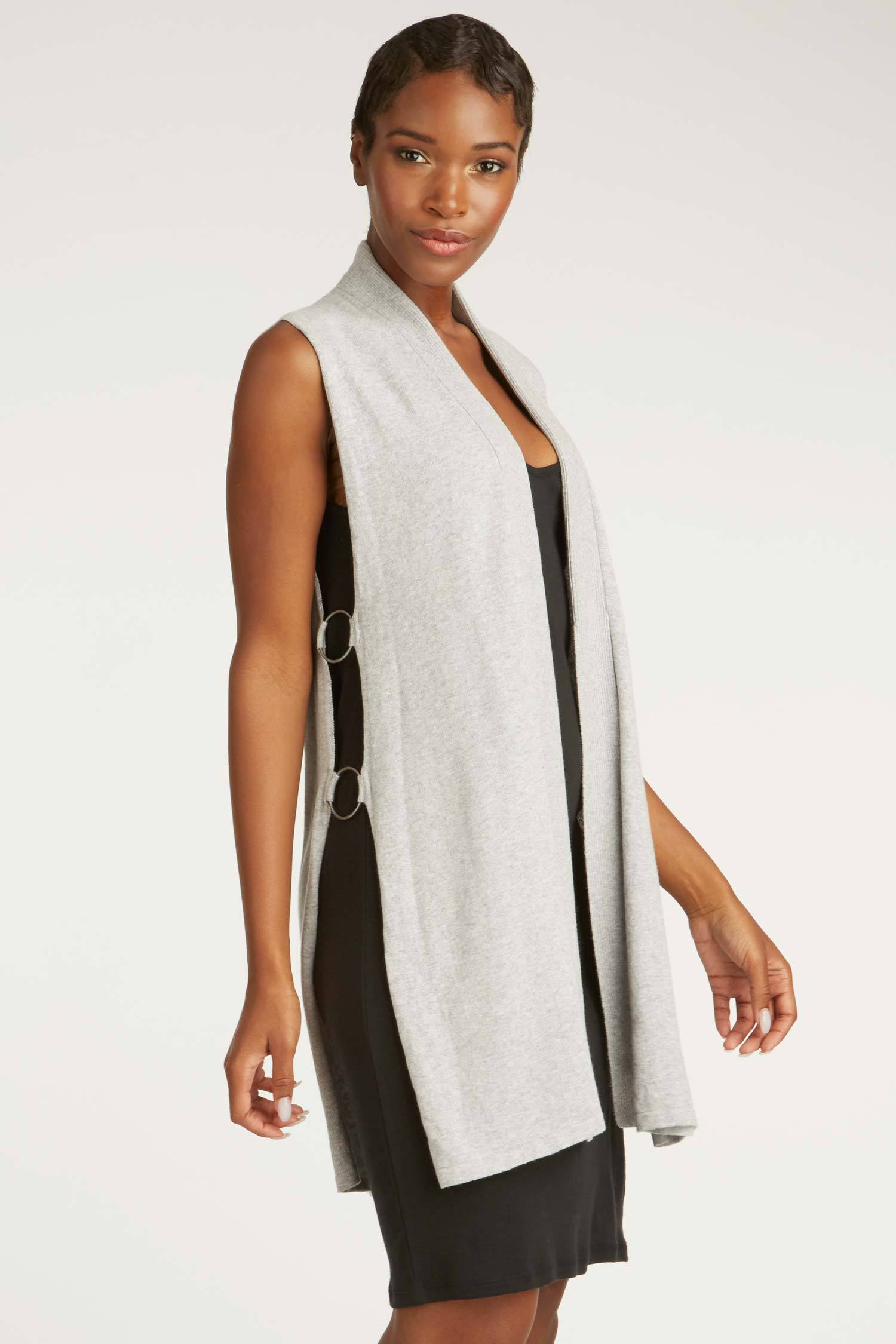 Womens Organic Cotton Vest | Gray Ring Knit Vest | Indigenous