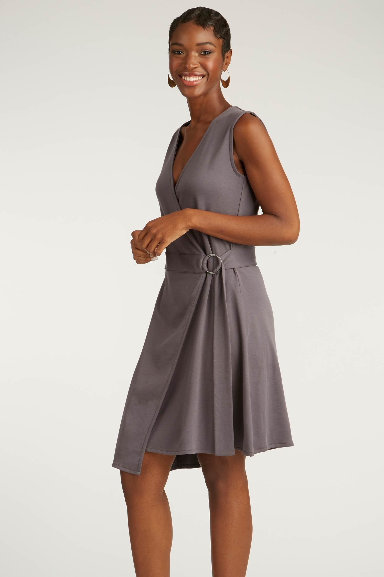 Womens Organic Cotton Dress | Purple Gray | Black Ring Wrap Dress