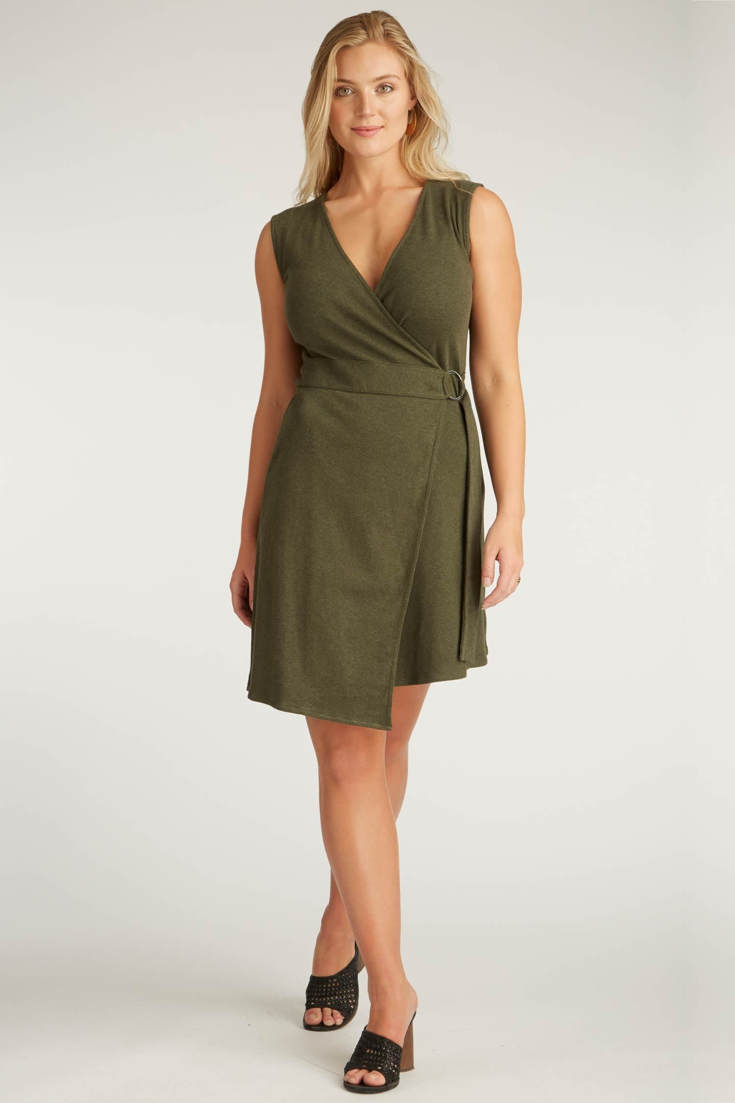 Womens Organic Cotton Dress | Moss Green | Black Ring Wrap Dress