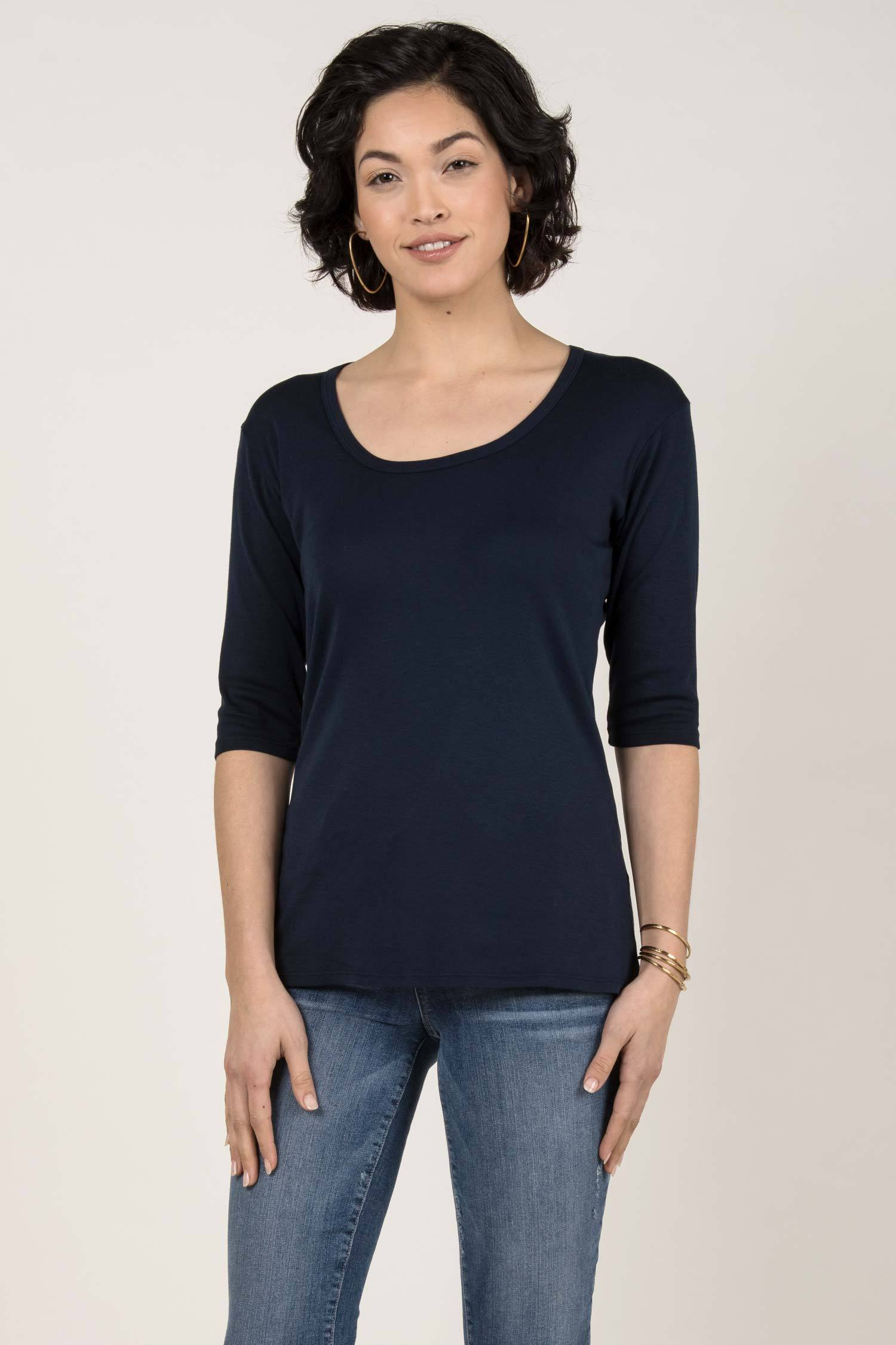 Womens Organic Cotton Scoop Tee | Navy Blue