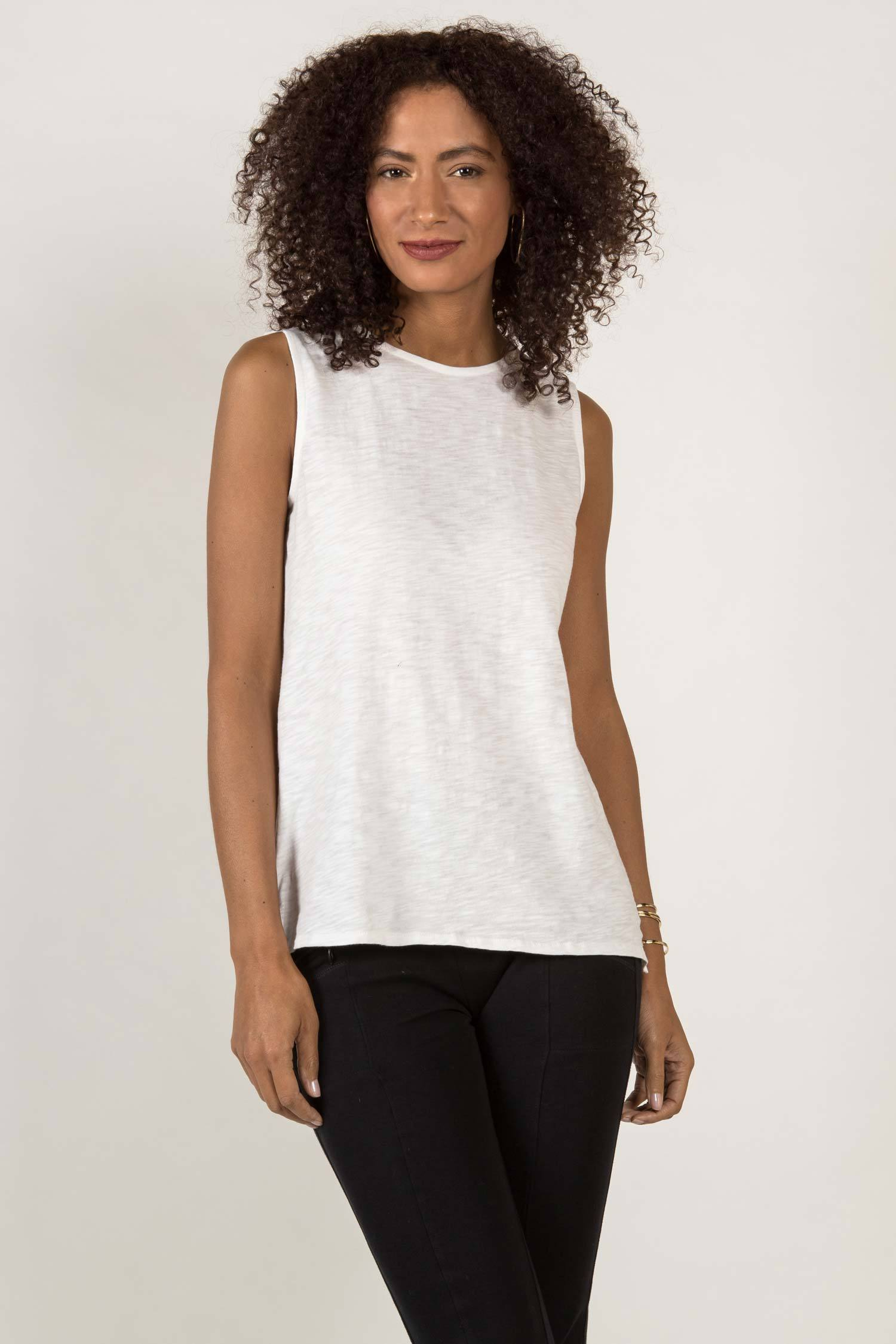 Womens Organic Cotton Tank Top | Essential Slub Shell Blouse | White