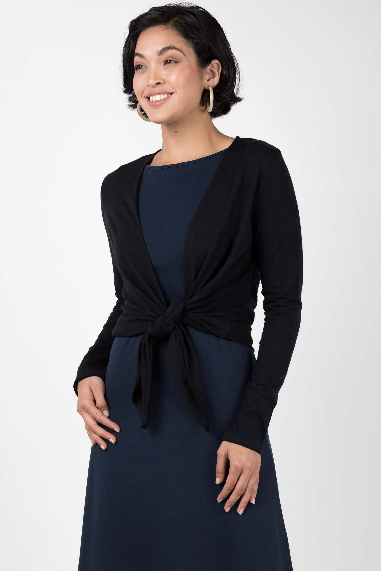 Womens Organic Cotton Cardigan | Black