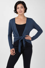Womens Organic Cotton Tie Front Cardigan | Blue