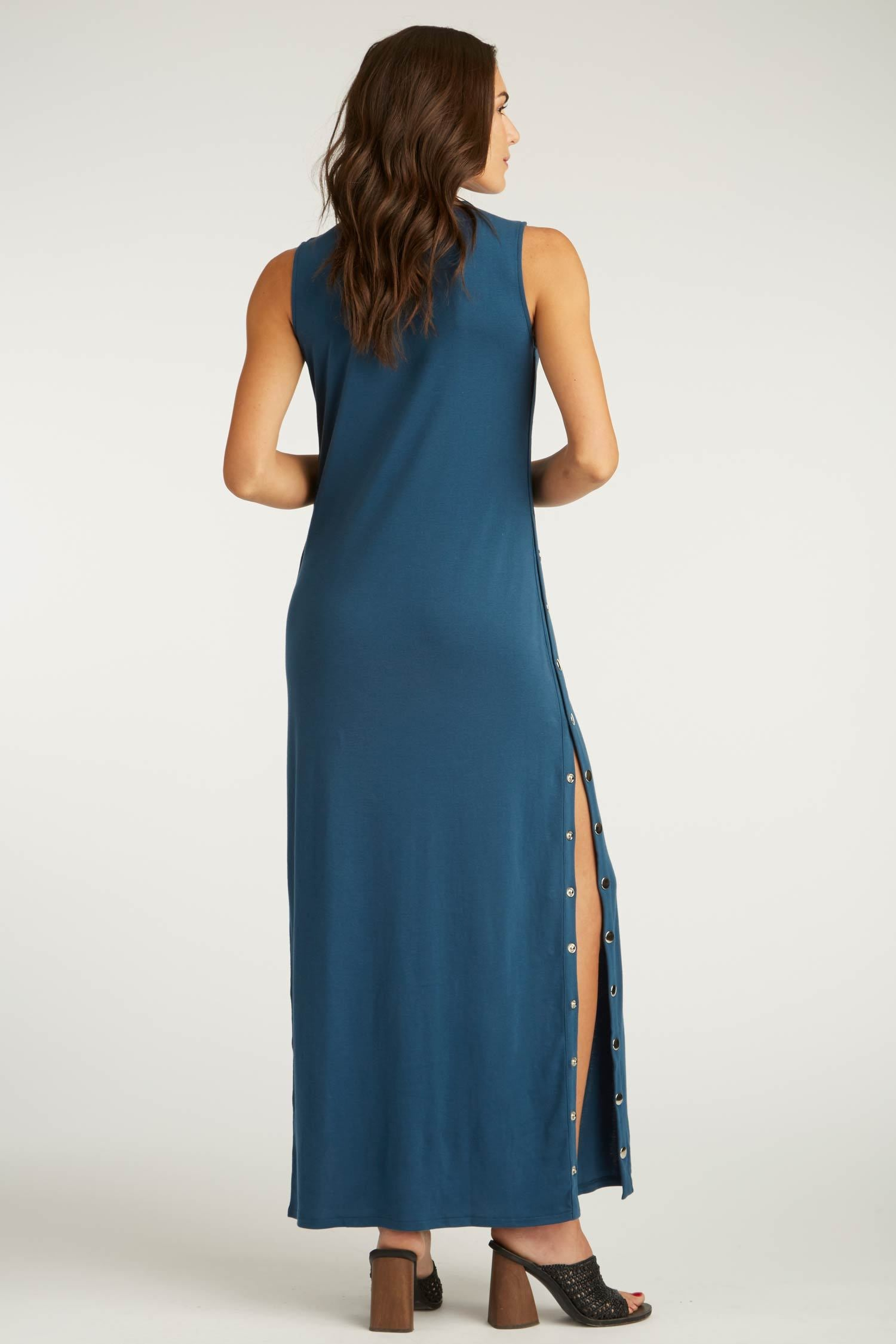 Womens Organic Cotton Dress | Snap Maxi Dress | Blue