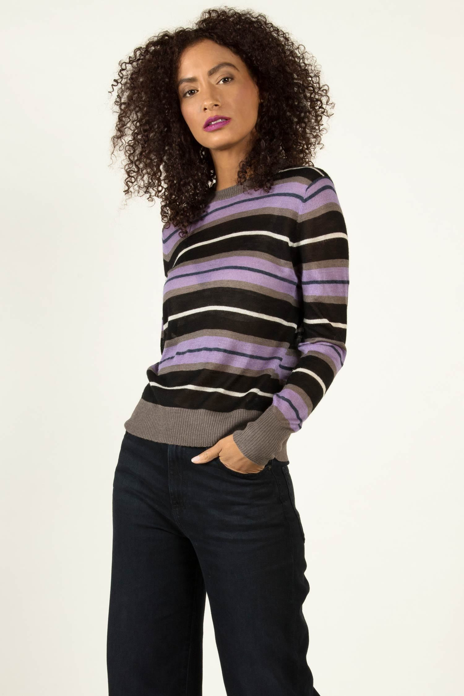 Striped Alpaca Silk Blouse | Lavender Stripe | Indigenous