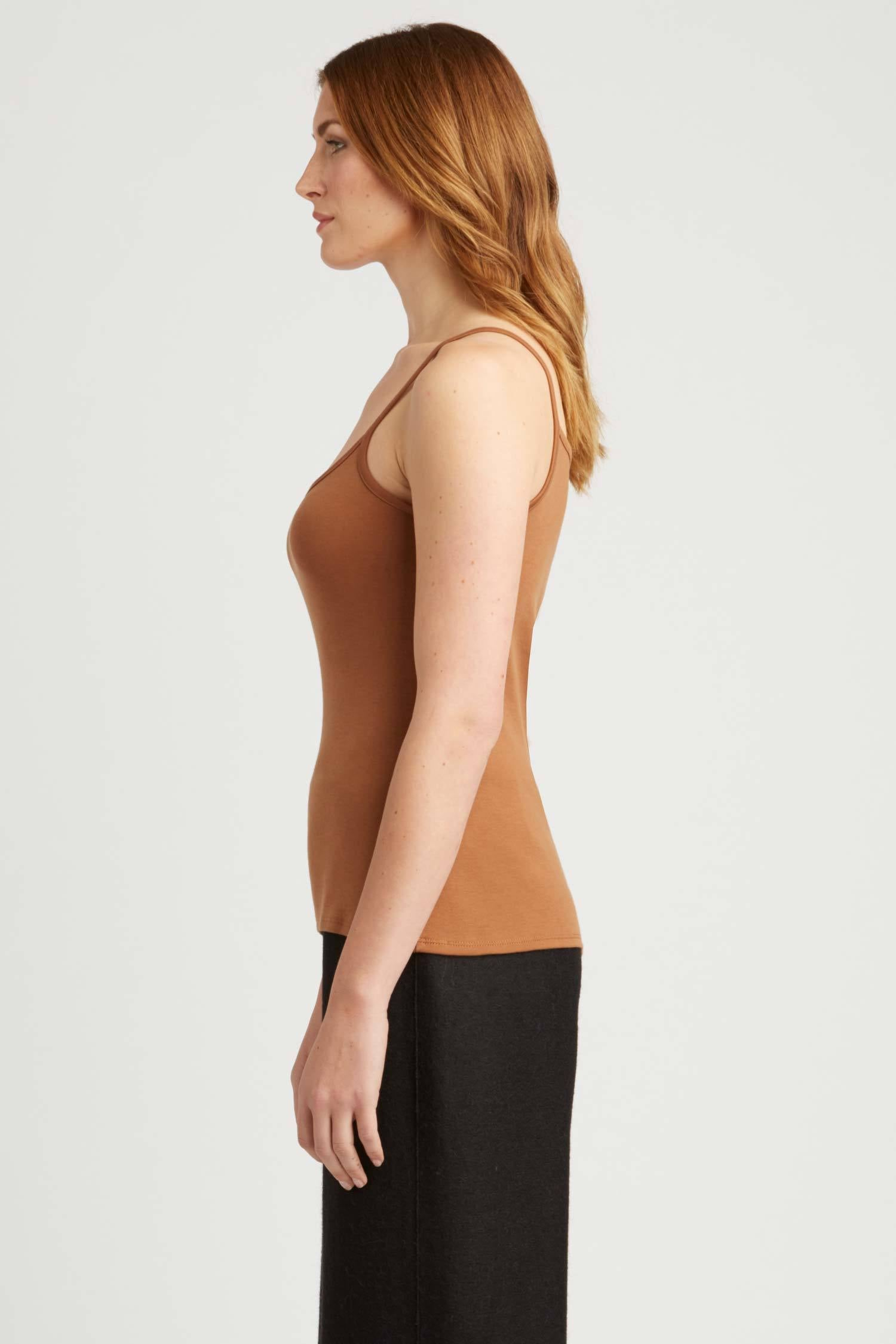Womens Tank Top Camisole Orange Brown | Organic Cotton Clothing Essentials
