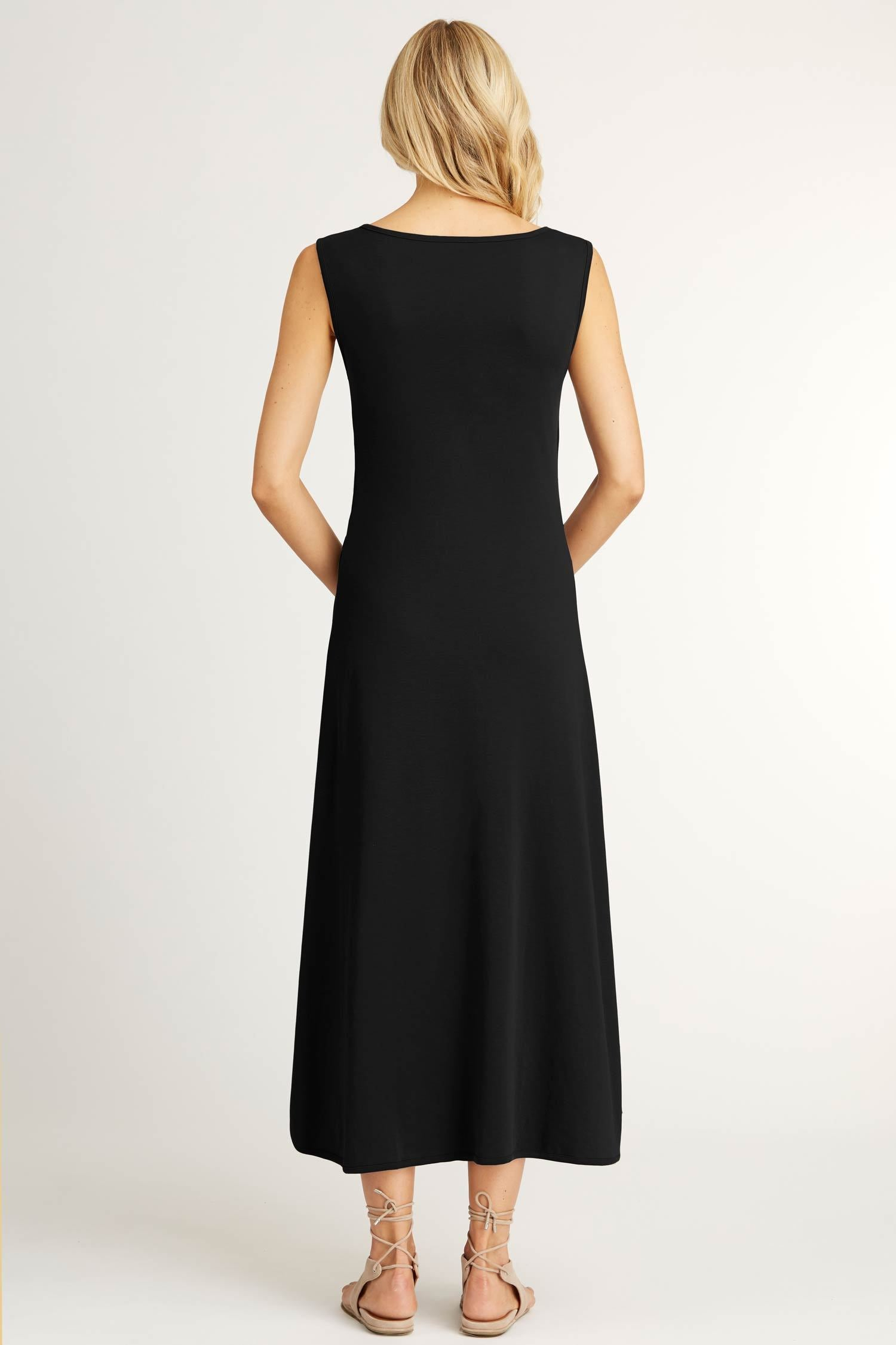 Womens Boatneck Maxi Dress in Black | Sustainable Fashion