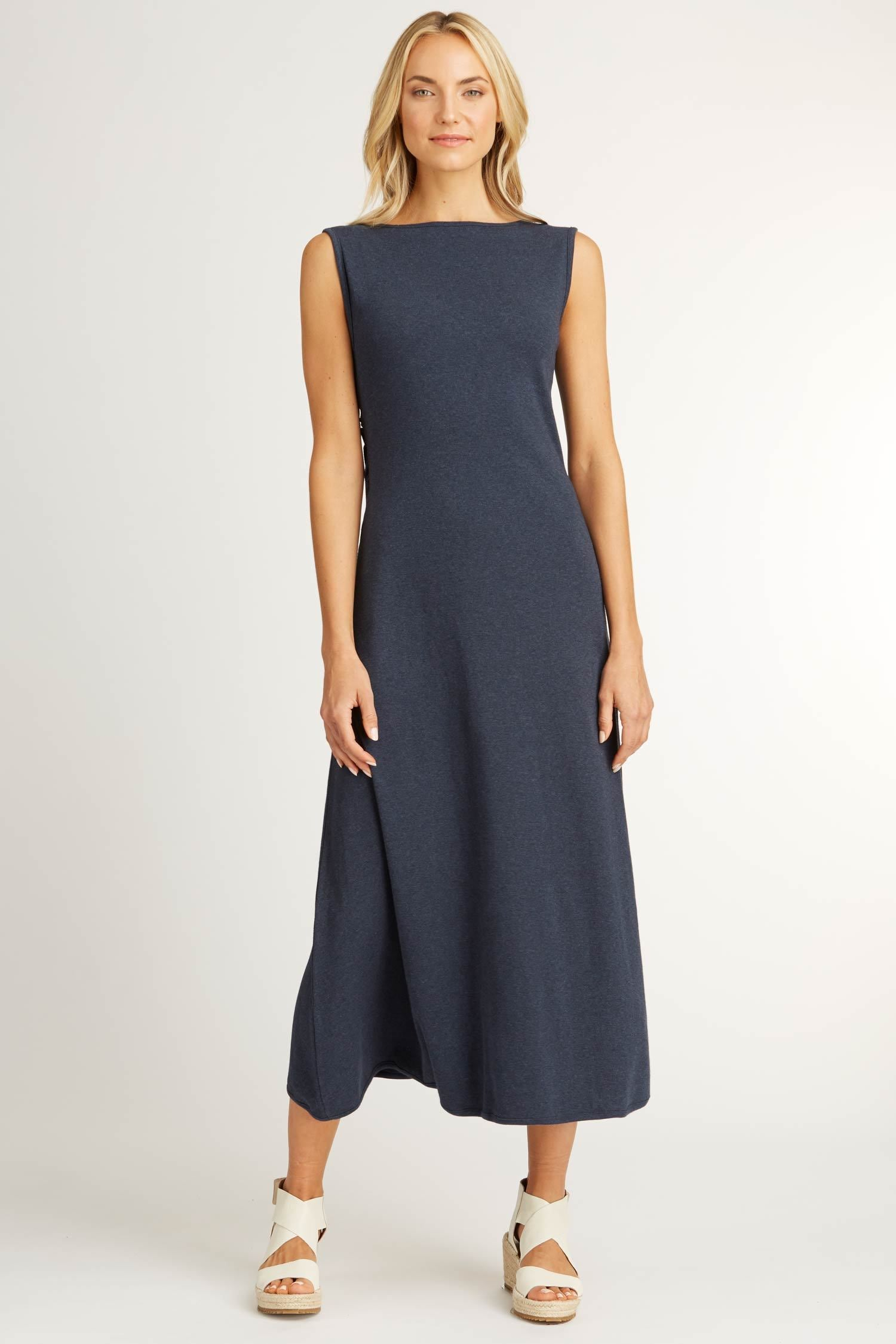 Womens Boatneck Maxi Dress in Navy Blue | Sustainable Fashion
