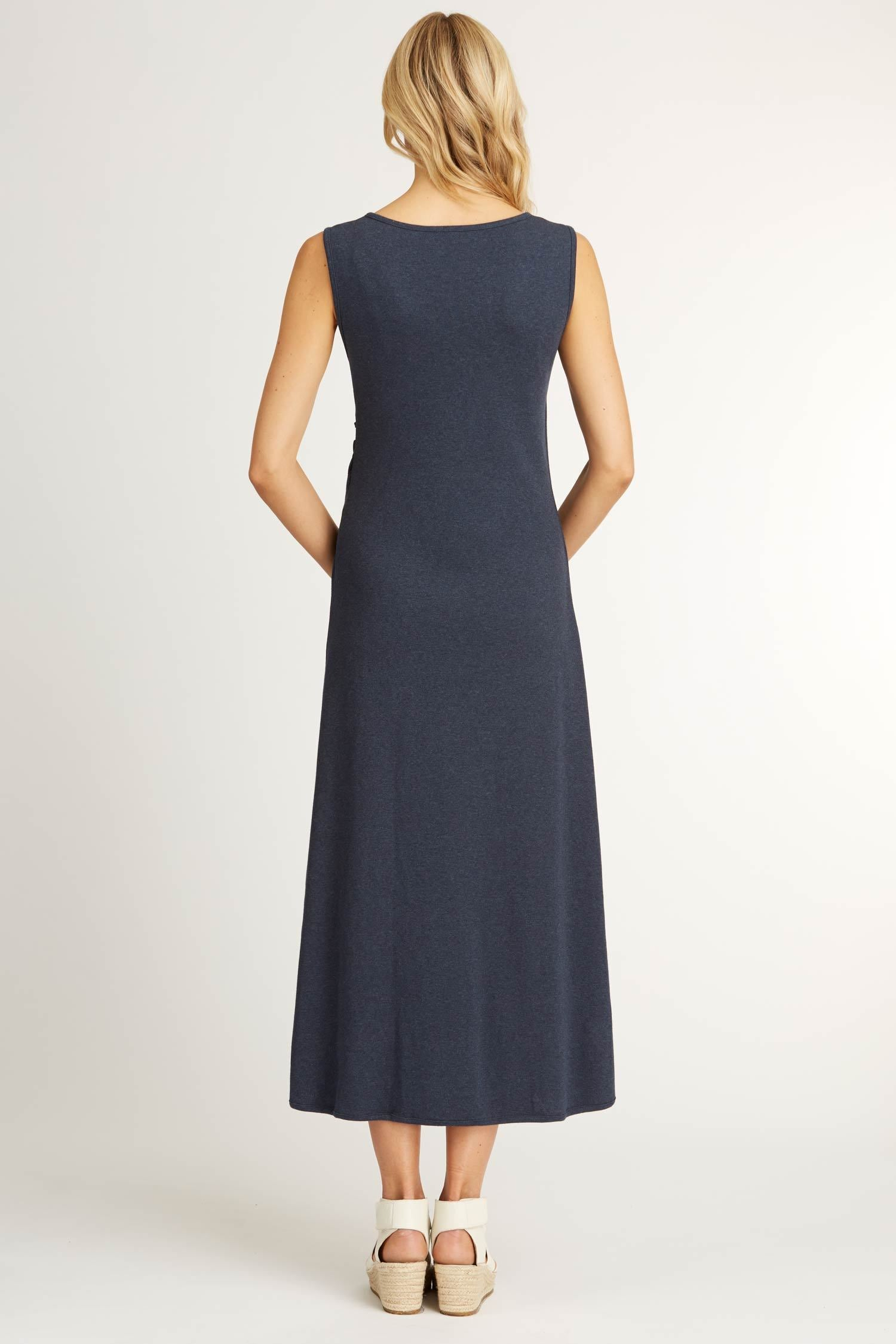 Womens Boatneck Maxi Dress in Navy Blue | Organic Cotton Clothing