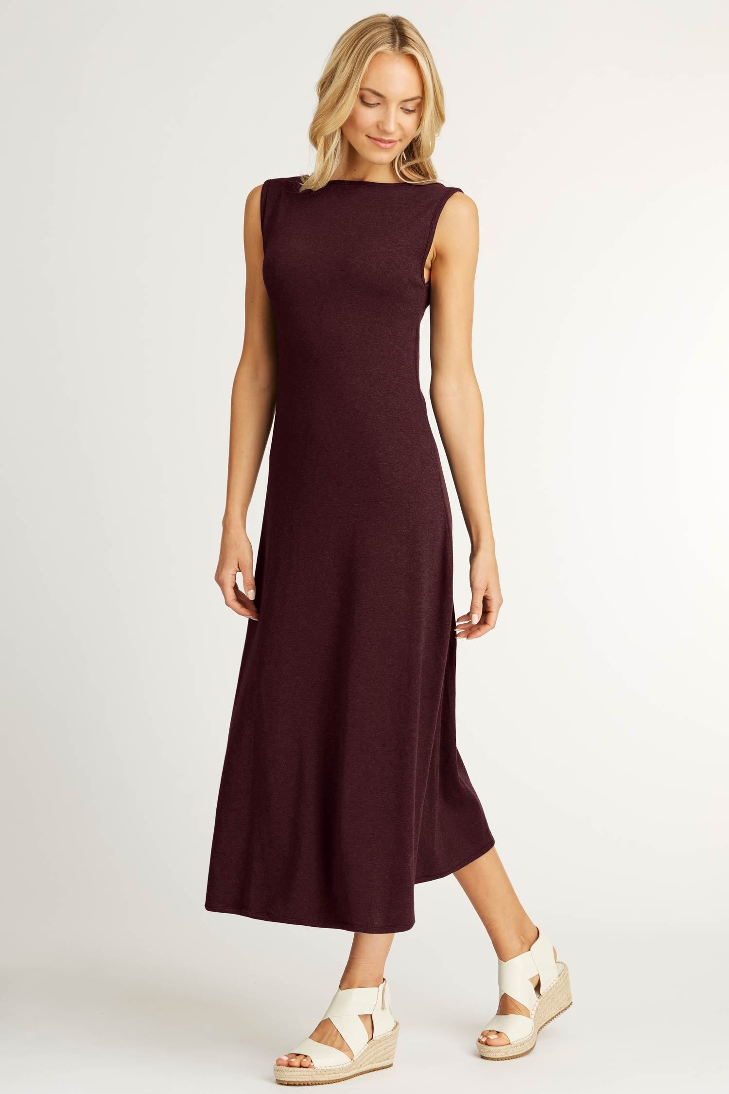 Womens Boatneck Maxi Dress in Burgundy Red | Organic Cotton Clothing