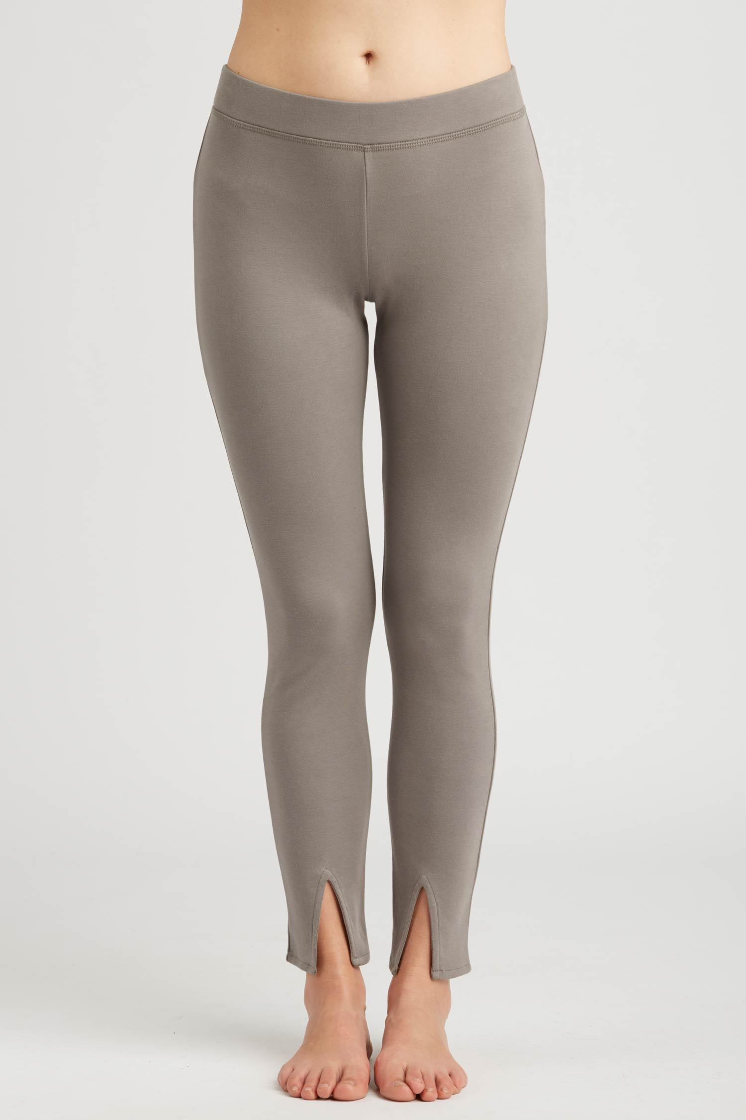 Womens Leggings Gray | Ankle Slit Pant | Organic Cotton Clothing
