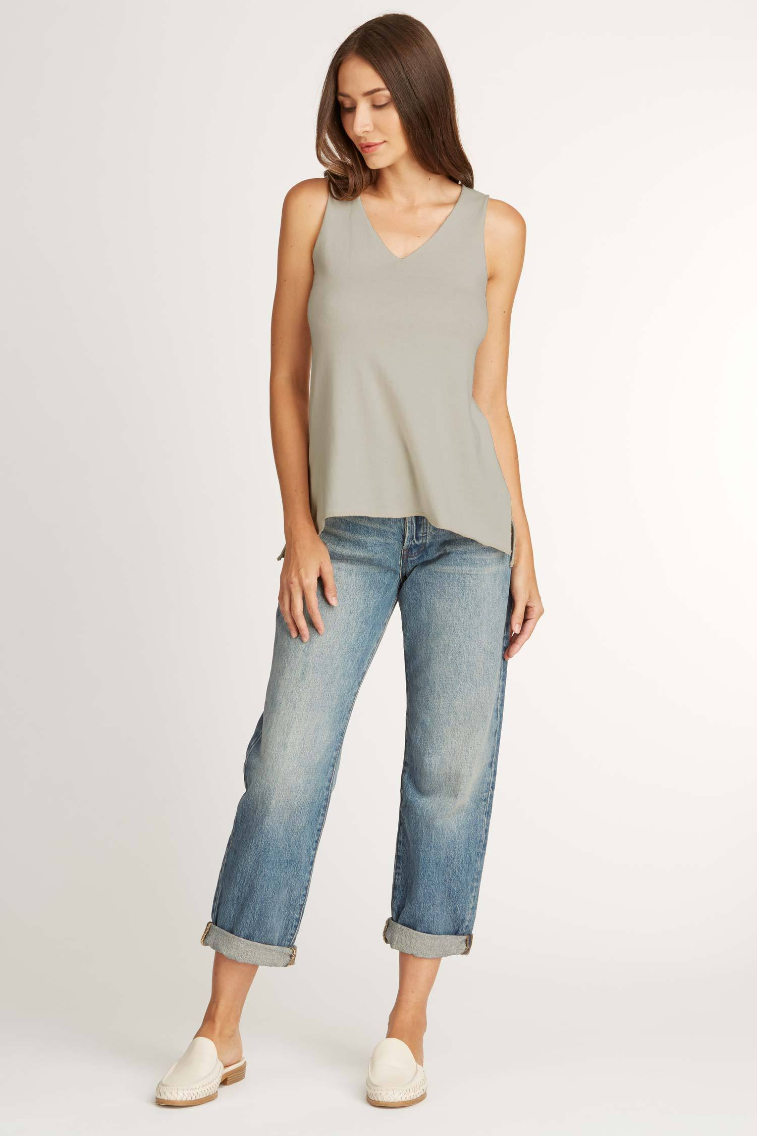 Womens Knit and Jersey Sweater Tank in Gray | eco friendly top