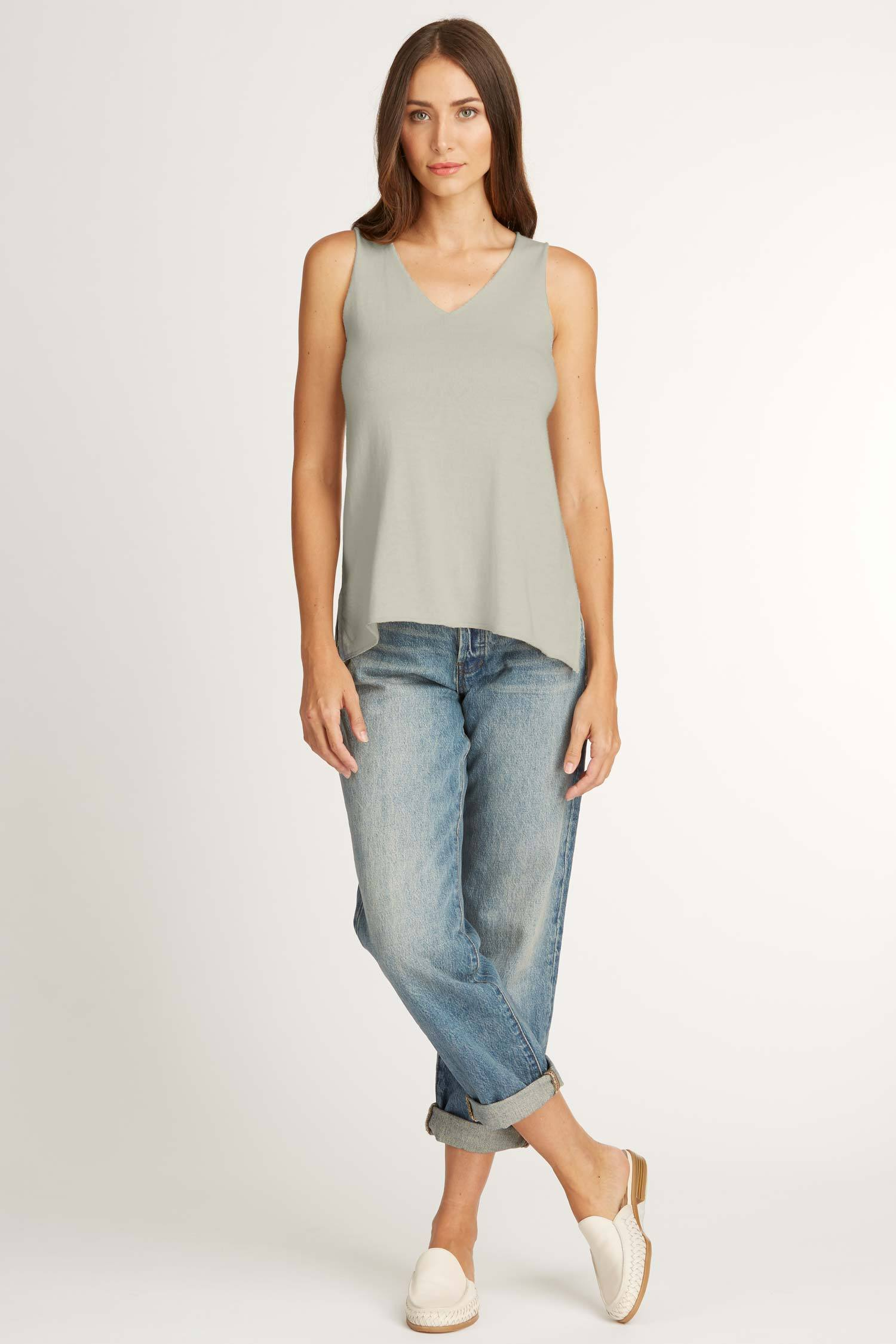 Womens Knit and Jersey Sweater Tank in Gray | sustainable fashion top