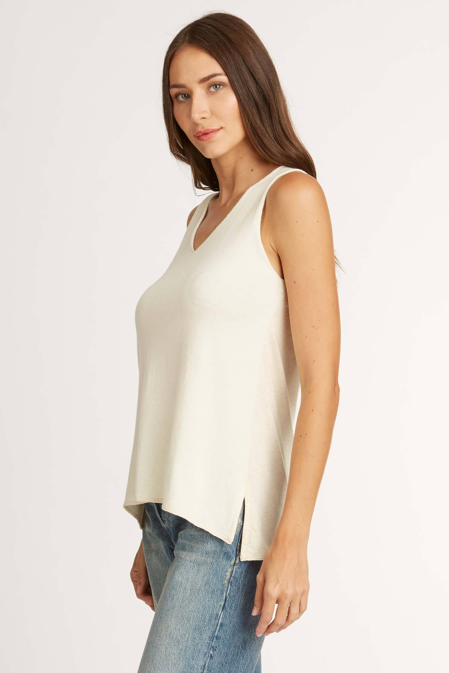 Womens Knit and Jersey Sweater Tank in Oatmeal | organic Pima cotton top