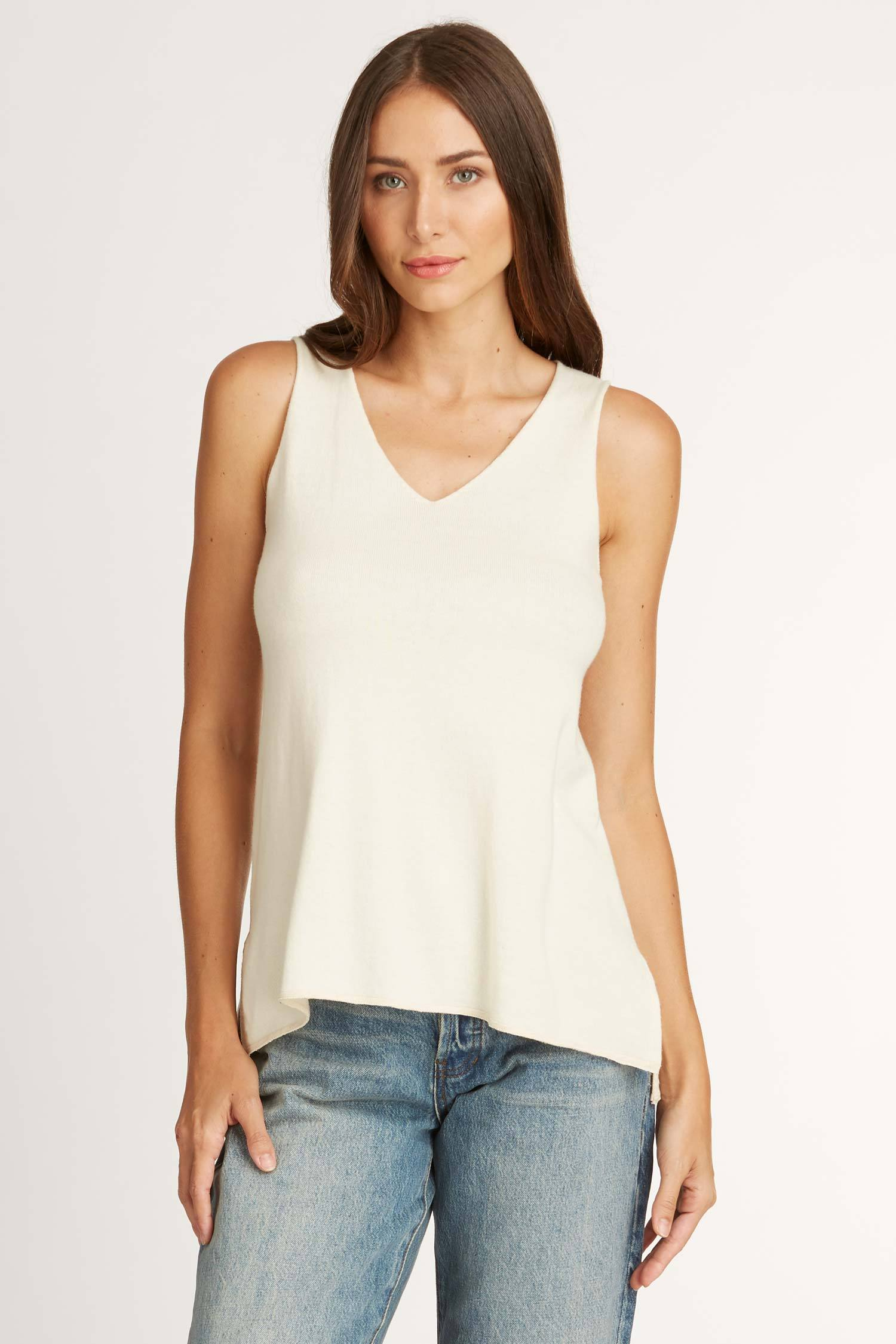 Knit Sleeveless V Neck Top