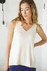Womens Knit and Jersey Sweater Tank in Ivory | organic Pima cotton top