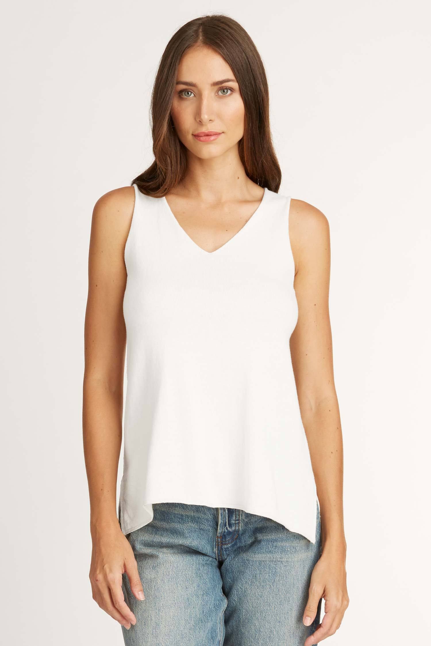 Womens Organic Cotton Sweater Tank Sleeveless V Neck Top White