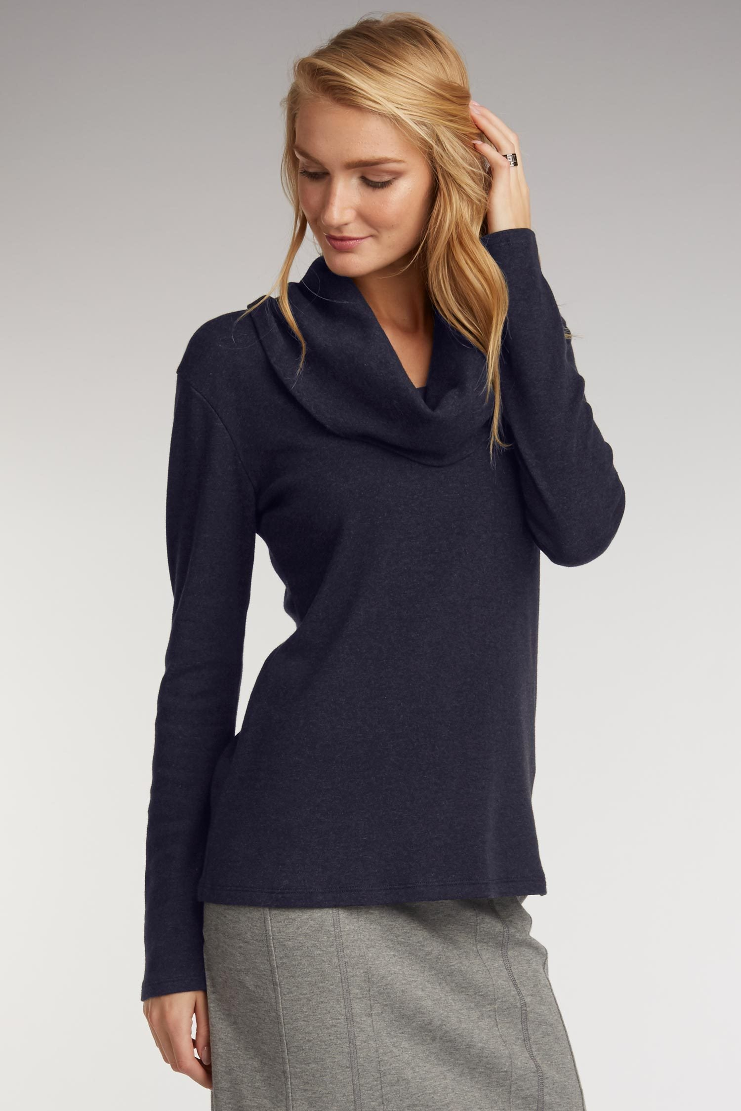 Womens Cowl Neck Top in Navy Blue Organic Cotton