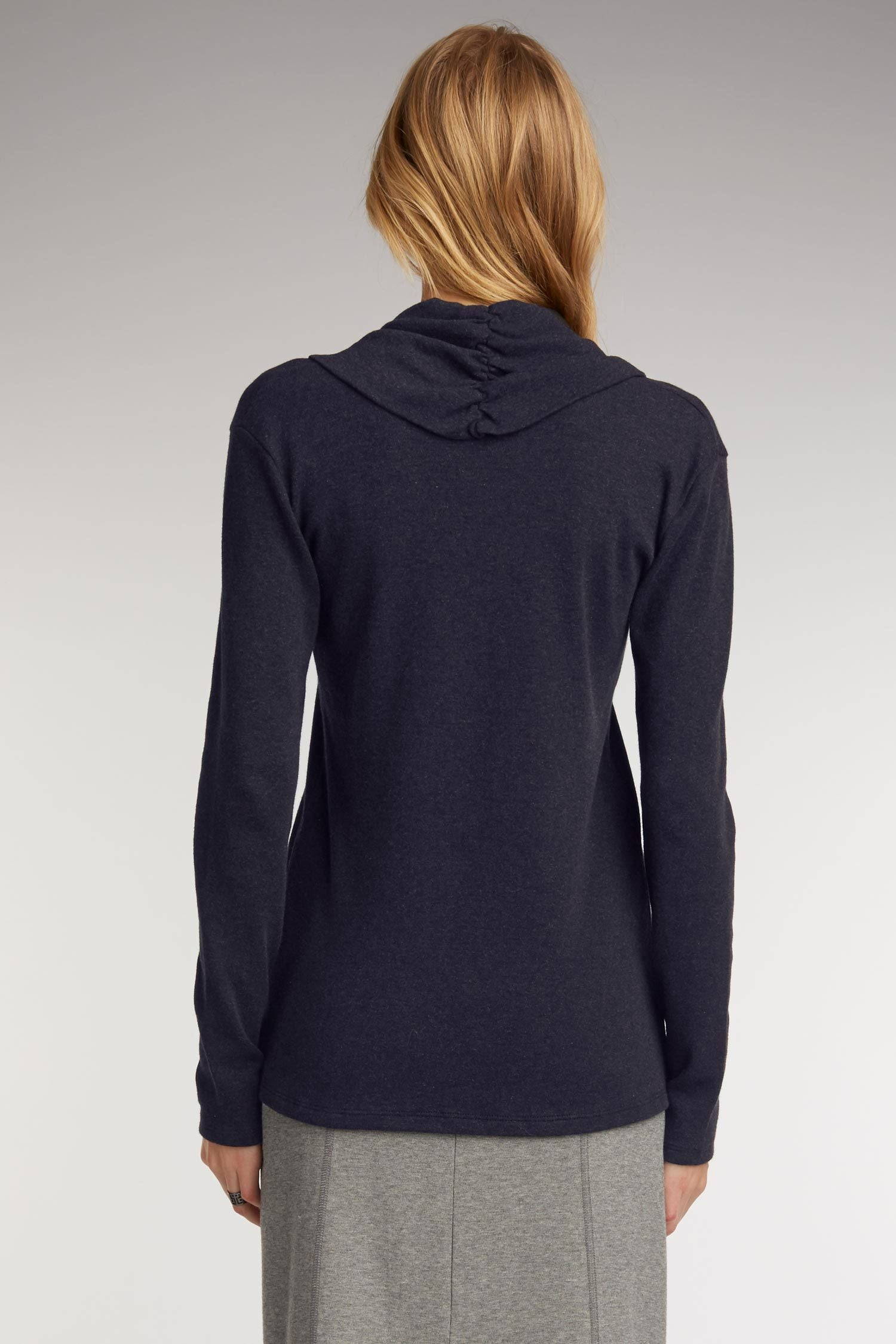 Womens Sustainable Clothing Top in Navy Blue Organic Cotton