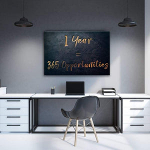 365 Opportunities - Framed Canvas Painting Wall Art Office Decor, large modern pop artwork for home or office, Entrepreneur Inspirational and motivational Quotes on Canvas great for man cave or home. Perfect for Artwork Addicts. Made in USA, FREE Shipping.