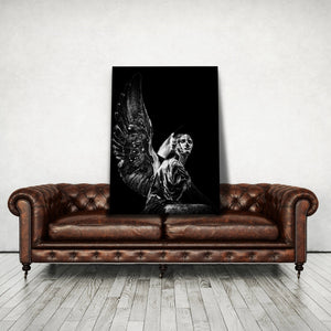 Angel Statue Black White - Framed Canvas Painting Wall Art Office Decor, large modern pop artwork for home or office, Entrepreneur Inspirational and motivational Quotes on Canvas great for man cave or home. Perfect for Artwork Addicts. Made in USA, FREE Shipping.
