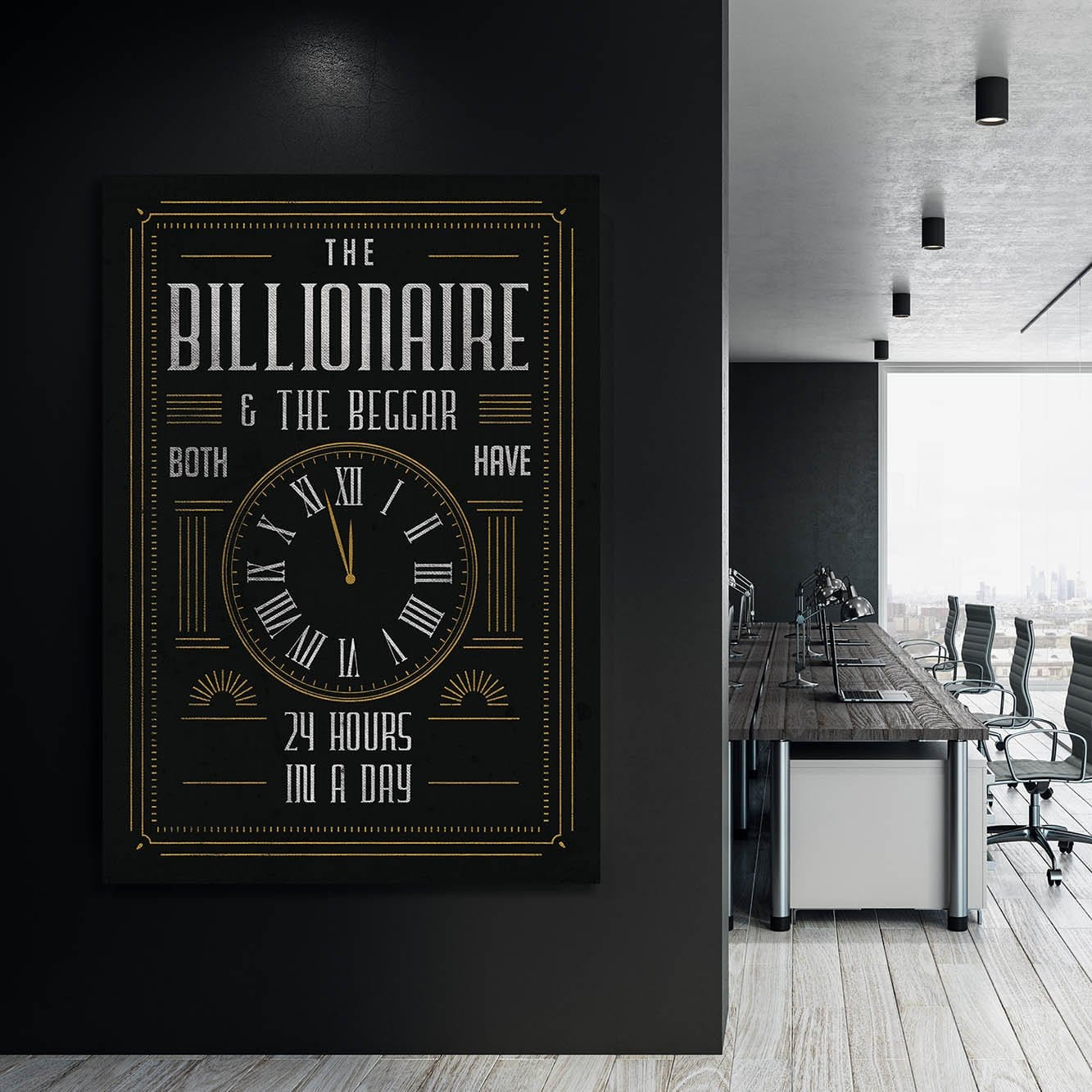 Billionaire & Beggar - Framed Canvas Painting Wall Art Office Decor, large modern pop artwork for home or office, Entrepreneur Inspirational and motivational Quotes on Canvas great for man cave or home. Perfect for Artwork Addicts. Made in USA, FREE Shipping.