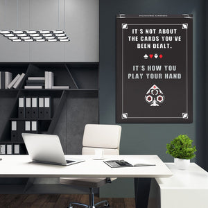 Cards Dealt - Framed Canvas Painting Wall Art Office Decor, large modern pop artwork for home or office, Entrepreneur Inspirational and motivational Quotes on Canvas great for man cave or home. Perfect for Artwork Addicts. Made in USA, FREE Shipping.