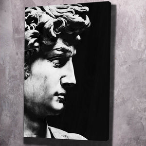 David Sculpture Black & White - Framed Canvas Painting Wall Art Office Decor, large modern pop artwork for home or office, Entrepreneur Inspirational and motivational Quotes on Canvas great for man cave or home. Perfect for Artwork Addicts. Made in USA, FREE Shipping.