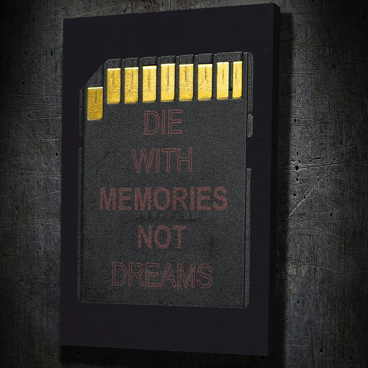 Die with Memories - Framed Canvas Painting Wall Art Office Decor, large modern pop artwork for home or office, Entrepreneur Inspirational and motivational Quotes on Canvas great for man cave or home. Perfect for Artwork Addicts. Made in USA, FREE Shipping.