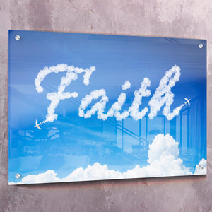 Faith Clouds - Framed Canvas Painting Wall Art Office Decor, large modern pop artwork for home or office, Entrepreneur Inspirational and motivational Quotes on Canvas great for man cave or home. Perfect for Artwork Addicts. Made in USA, FREE Shipping.