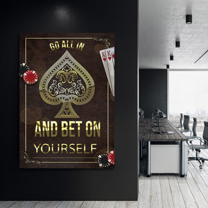 Go All-In - Framed Canvas Painting Wall Art Office Decor, large modern pop artwork for home or office, Entrepreneur Inspirational and motivational Quotes on Canvas great for man cave or home. Perfect for Artwork Addicts. Made in USA, FREE Shipping.