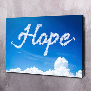 Hope Clouds - Framed Canvas Painting Wall Art Office Decor, large modern pop artwork for home or office, Entrepreneur Inspirational and motivational Quotes on Canvas great for man cave or home. Perfect for Artwork Addicts. Made in USA, FREE Shipping.